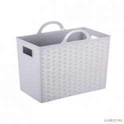 Корзина (сумка) с ручками Плетение (серый) (уп.5) М6817