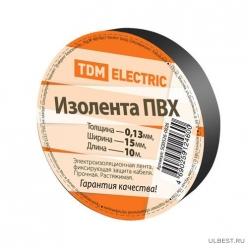 Изолента ПВХ 0,13*15мм Черная 10метров TDM (SQ0526-0026)
