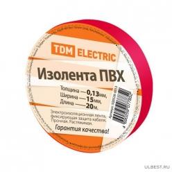 Изолента ПВХ 0,13*15мм Красная 20метров TDM (SQ0526-0013)