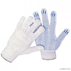 Перчатки трикотажные 10кл 5ти нитка ПВХ ТОЧКА (белый)