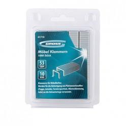 Скобы, 10 мм, для мебельного степлера, усиленные, тип 53, 1000 шт.// GROSS арт.41710
