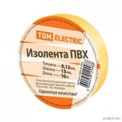 Изолента ПВХ 0,13*15мм Желтая 10метров TDM (SQ0526-0022)