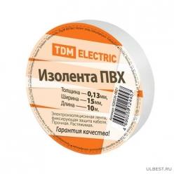 Изолента ПВХ 0,13*15мм Белая 10метров TDM (SQ0526-0021)