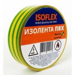 Изоляционная лента ПВХ 15мм*10м желто-зеленая ISOFLEX инд.уп. арт.F1514 /200/5