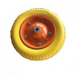 Колесо для тачки W13-3.25/8L-16 (литое,каучук,втулка 16) желтое