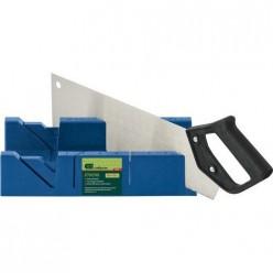 Стусло пластиковое синее,4 угла для запила+пила 350мм//СИБРТЕХ арт.22536