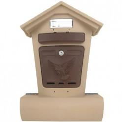 Ящик почтовый ЭЛИТ бежевый с коричневым