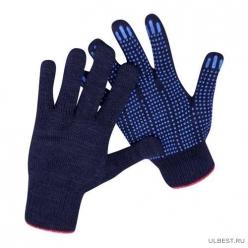 Перчатки трикотажные 10кл 5ти нитка ПВХ ТОЧКА (черный)