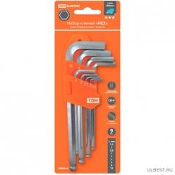 Набор ключей HEX 9 шт.: 1.5-10 мм, длинные с шаром, CR-V сталь Алмаз TDМSQ1020-0104