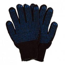Перчатки х/б Стиль 6-ти нитка с ПВХ (70/30) цвет черный