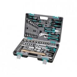 Набор инструментов, 1/2, 1/4,  CrV, пластиковый кейс  76 предм.// STELS арт.14104
