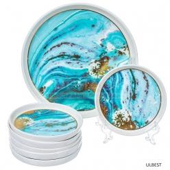 Набор для торта керамический Голубой мрамор Y4-3752 I.K, 7 предметов