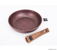 Сковорода Kukmara 240мм со съемной ручкой, антипригарная линия Granit ultra (Red) сга242а
