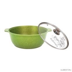 Кастрюля-жаровня Kukmara 3л со стеклянной крышкой, антипригарная линия Trendy style (Lime) ж31tsl