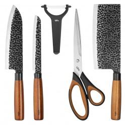 Набор ножей 5 предметов LR05-11 Lara: топорик, нож сантоку, нож универс., овощечистка, ножницы 3RC14