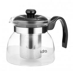 Заварочный чайник Lara LR06-08 750мл, боросиликатное стекло, стальной фильтр, отделка хром