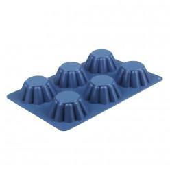 VETTA Форма силиконовая 6 ячеек, для кексов, гофрированная, 25.5x18x3.5см, 4 цвета, HS-027 (891-005)