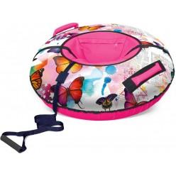Надувные санки для тюбинга Nika ТБ2К-85 Бабочки White pink