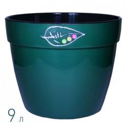 Вазон для цветов Асти 9.0 л. зеленый-черный (AS4 VER-NGR)