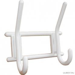 Вешалка 2-х крючковая снежно-белая, пластмасса